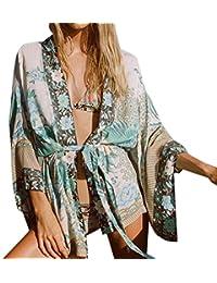 e8d20c994930 Homebaby® Copricostume Mare Cardigan Donna Boho - Vintage Chiffon Camicia  Estivo Scialle Elegante Sexy Bianco