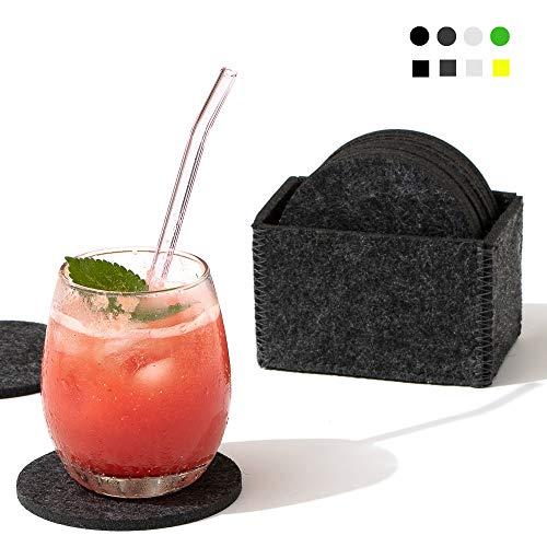 chillify - Set di 12 Sottobicchieri in Feltro con ripiano portaoggetti - Lavabile, Assorbente, Antiscivolo e Resistente al Calore...