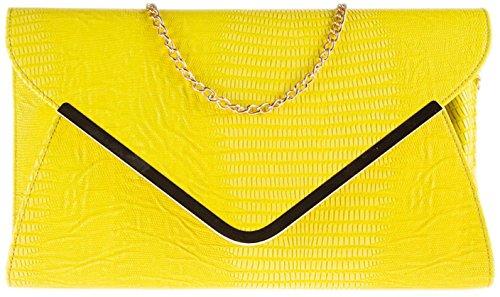 Ladies animale Croc stampa busta piatta sera pochette - Beige Yellow