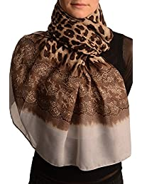 Leopard With Gold Glitter & Grey Lace Print - Brown Animal Scarf