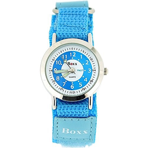 BOXX-Lernuhr-fr-Mdchen-mit-blauem-und-weiem-Ziffernblatt-PU-Armband-mit-Klettverschluss