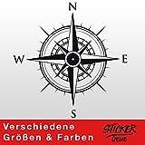 KOMPASS Windrose Aufkleber Wandtattoo Wandaufkleber Sticker (40 (B) x 40 (H) cm, Schwarz)