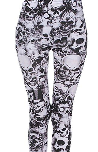 LIQY Womens Skull print full length leggings ladies Plus Size Punk Trouser Lowerwear Size 8 10 12 14