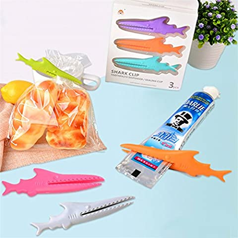 EQLEF® 3 pieces / pack Multi-functional Plastic Shark Sealing Food Bag Clip Seal Clamp Sealer Toothpaste Squeezer Kitchen Storage