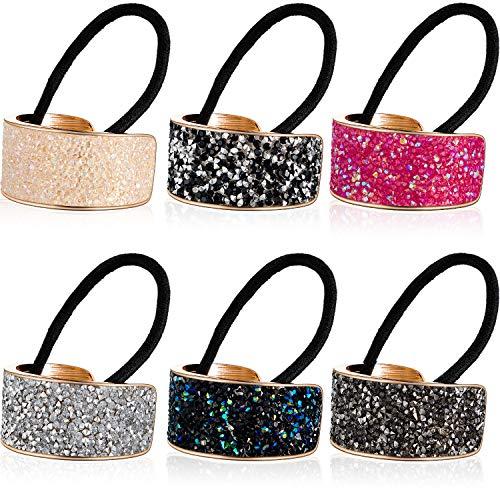 6 pezzi strass coda di cavallo portacapelli elastico polsini glitter strass metallo elastici fasce per donne ragazze accessorio per capelli, 6 colori