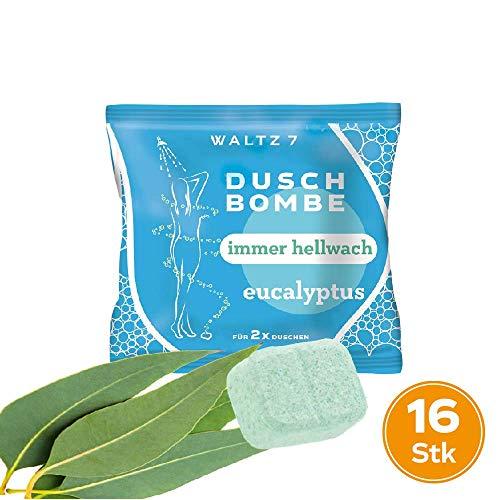 WALTZ7 aromatische Duschbombe Duft Eucalyptus 16 Stück Duschbad Aromatherapie Wellness Geschenk für Damen und Herren Duschtab Ätherische Öle -