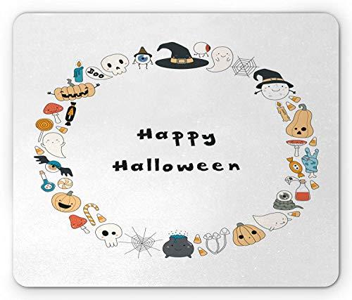 appy Halloween Spooky Theme Kürbis Geister Spinnennetz Strichzeichnung Kreis Rahmen, Standardgröße Rechteck Rutschfeste Gummi Mousepad, Multicolor,Gummimatte 11,8