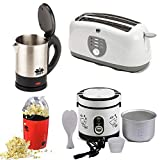 BMS Lifestyle Multi-Function Electric Rice Cooker 600 ml, 4-Slice Big Pop-up White Toaster, Electric Kettle and Pop-Corn Maker -4 Pieces Set