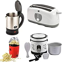 BMS Lifestyle Multi-Function Electric Rice Cooker 600ml, 4-Slice Big Pop-up Toaster, Electric Kettle And Pop-Corn Maker, 4-Pcs Set