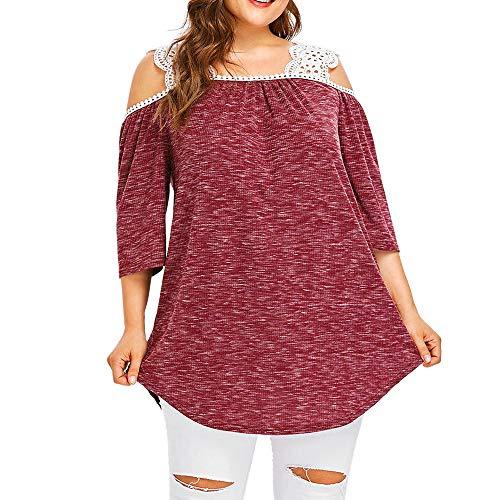 Fashion Pullover Bluse für Damen, Fashion Frauen Übergröße Spitze Patchwork trägerlose Schlinge Lose Bluse T-Shirt xxl rose