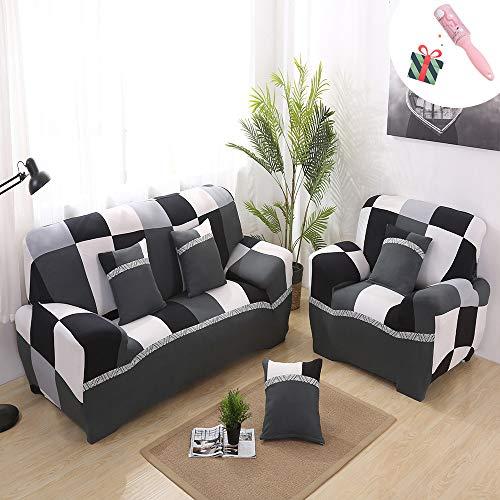 Morbuy copridivano copridivano elasticizzato fodera copridivani universale per divano con corda fissa sofa protettore copertura divano antiscivolo (3 posti,bianco e nero)