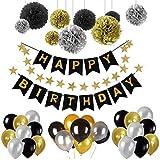 Decoraciones de Fiesta de Cumpleaños Para Niñas y Niños, Pancarta Dorada Con 30 Globos de Látex, 9 Pompones de Papel Tisú, Guirnalda de Papel Estrella de 2M de Longitude