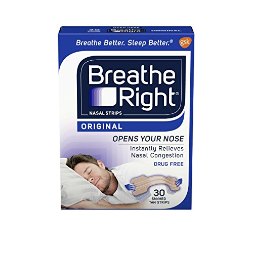 Breathe Right Nasal Strips, Small/Medium, Tan, 30-Count Boxes (Pack of 2) -