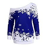 TWBB Damen Mantel,Weihnachten Gestrickt Winter Off Shoulder Hemd Outwear Slim-Fit Elegant Sweatshirt Oberteile