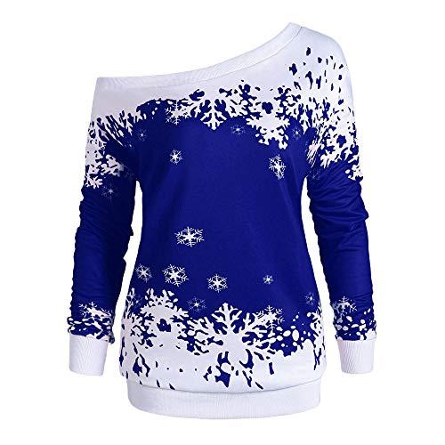 ZIYOU Damen Schulterfrei Sweatshirt für Christmas Damen Große Größe Langarm Oberteil Pulli...
