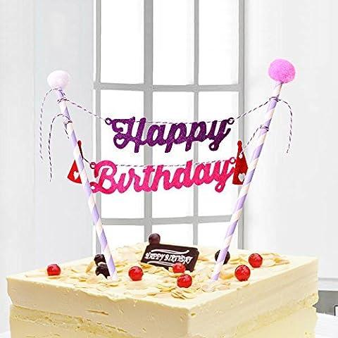 Mignon, joyeux, anniversaire, partie, décoration, gâteau, topper, Bunting, ensemble, enfants (c)