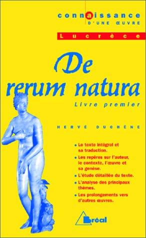 DE RERUM NATURA, LUCRECE. Livre I, Bac 1998-1999