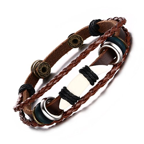 Vnox Bracciale in corda intrecciata in pelle genuina Uomo antico con Ivory Wrap Wristband (Brown Bracciale In Pelle Intrecciato Il Braccialetto)