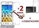 2 Films de protection d'écran en verre trempé + 1 gel coque silicone SAMSUNG GALAXY...