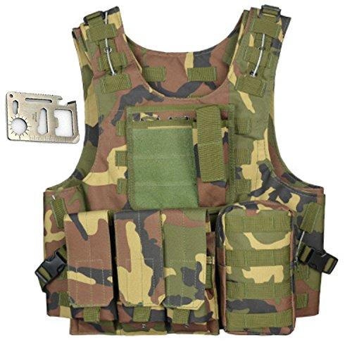 Cozyjia gilet softair militare, gilet tattico militare in poliestere gilet multitasche per la caccia di campeggio esterna pesca escursionismo softair war game (woodland camouflage)