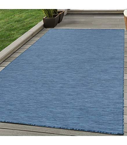 Sisal Teppich Flachgewebe Terrassen Indoor Outdoor Melierung Marineblau Blau - 120x170 cm -