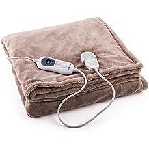 Klarstein Dr. Watson XL • Manta eléctrica • Frazada eléctrica • Calentador de cama • 180 x 130 cm • Potencia 120 W • 3 Temperaturas regulables • Función de temporizador • Comando extraíble • Fácil limpieza • Apto para lavadora • Microfibra • Beige