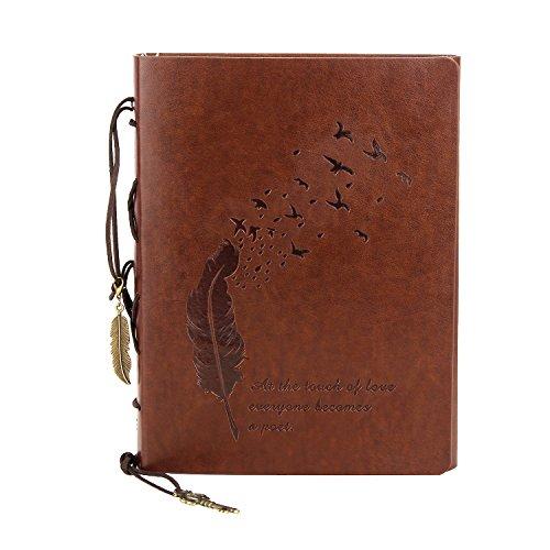 Leder Notizbuch Din A5, VEESUN Vintage Blanko Tagebuch für Erwachsene, Retro Reisetagebuch für...