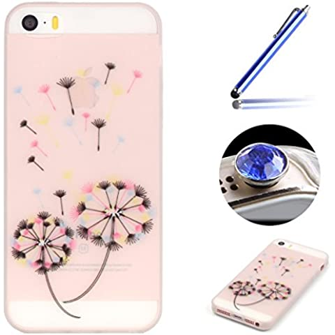 Etsue iPhone 5S Custodia,iPhone SE Cover Tpu,iPhone 5S Cover Trasparente,Creativo/Divertente/Fresco Nottilucenti Tpu Style Bella Modello Soft Gel Morbido Gomma in Silicone Anti Scratch Protective Case Cover Per iPhone 5/5S/SE+Blu Pennino e scintillio di Bling Diamond Dust Plug colora Casuale-Colorato Dente di leone