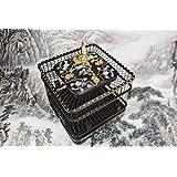 Pet Online Espaciado de jaula de perico 1.2cm cuadrados de palo de rosa tallado con incrustaciones en forma de jaula de reloj, negro ,s:23*23*21cm.
