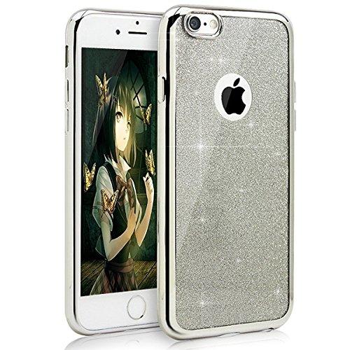 """Etsue Silicone Coque pour Apple iPhone 6 Plus,6S Plus 5.5"""",Luxe Bling Doux Protecteur Coque,Gel Cadre est Transparent de Remplissage Housse étui pour iPhone 6 Plus,6S Plus,ultra-mince Briller Commode  amovible paillette,argent"""