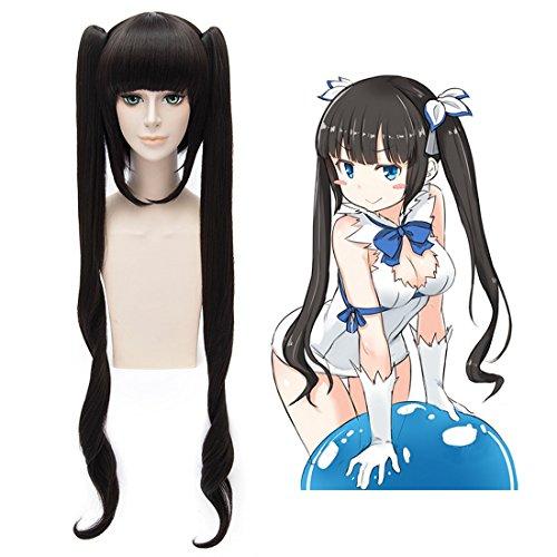 Dungeon Kostüme (EDAY Lange Schwarze Trauben Anime Cosplay Perücken ist es Falsch, Versuchen, Pick up Girls in Einem Dungeon Kami Sama Hestia Kostüm Party)
