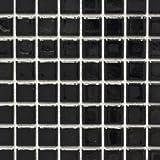 Mosaik Fliese Keramik schwarz glänzend für WAND BAD WC DUSCHE KÜCHE FLIESENSPIEGEL THEKENVERKLEIDUNG BADEWANNENVERKLEIDUNG Mosaikmatte Mosaikplatte