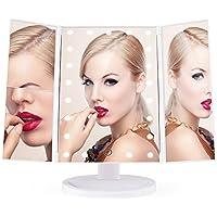 BESTOPE Espejo de maquillaje iluminado 21 LED Espejo de vanidad iluminado Con 2X / 3X Espejos de Aumento de LED para Escritorio de encimera Espejo cosmético