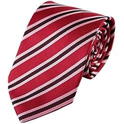 Streeze Corbatas a Rayas Dobles para Hombres - Rojo/Marrón / Rosa