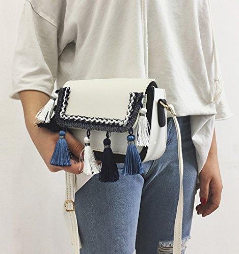 TIFIY Damen Mode Beiläufig Quasten Knoten Gestrickt Rand Crossbody Schultertasche Weiß
