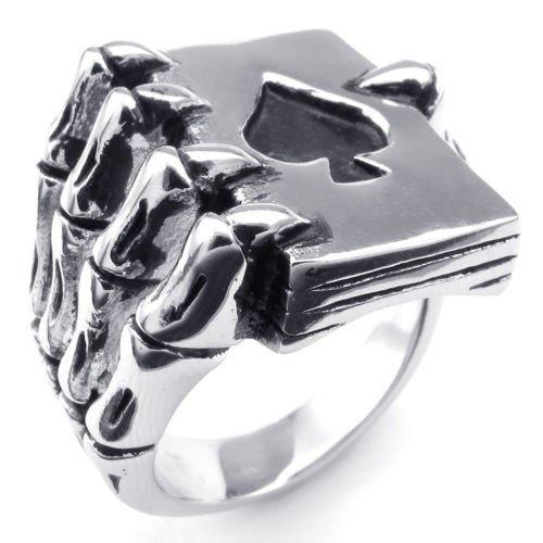 Silber Schwarz Drachenkralle Bibel Edelstahl Herren-Ringe -- von Aooaz Schmuck