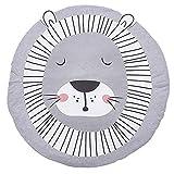 Baby Krabbelmatte, rund, 95 cm, niedliche Cartoon-Tiere, für Kinderzimmer, Baumwolle, rutschfest