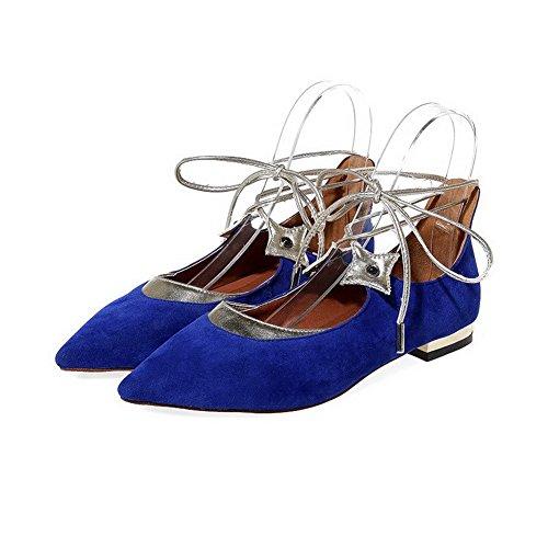 AllhqFashion Femme Pointu à Talon Bas Matière Souple Lacet Chaussures à Plat Bleu