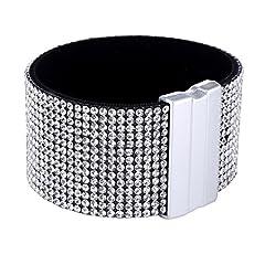 Idea Regalo - Morella Bracciale Donna Largo Decorato con zirconi e Strass e con Chiusura Magnetica Bianco