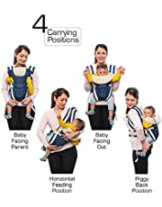 SHAH Brothers Enterprises Adjustable Hands-Free 4-in-1| Baby Carrier Bag with Comfortable Head Support | Buckle Straps Navy Blue