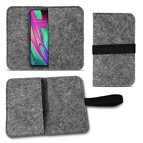 UC-Express Handy Hülle kompatibel für Samsung Galaxy A40 Filz Tasche Schutzhülle Filzhülle Cover, Farben:Dunkel Grau -