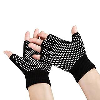 Aquiver Soft Yoga Gloves,Non Slip Fingerless For Gym Body Building Training Sports (Black)