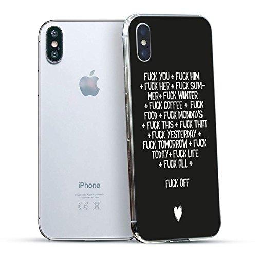finoo | Iphone X Hard Case Handy-Hülle mit Motiv | dünne stoßfeste Schutz-Cover Tasche in Premium Qualität | Premium Case für Dein Smartphone| Love Laugh Live Fuck Off