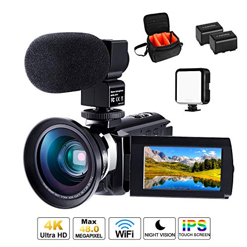 Cofunkool Videokamera, 4K Camcorder 48MP Ultra HD WiFi IPS Touchscreen IR-Nachtsicht 16X Digital Zoom Video Camcorder mit Mikrofon, LED Videoleuchte, Weitwinkelobjektiv, Schultertasche - Camcorder Kamera