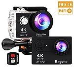Sport Action Cam,Bagotte Action Camera 4K Ultra FHD 12MP 170° weiter Winkel Unterwasserkamera mit WiFi Fernbedienung Ausgabe,zum Schwimmen,Klettern,Tauchen (Schwarz)