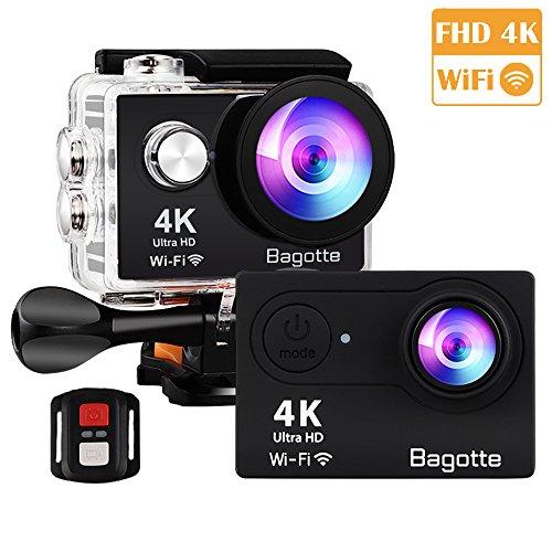 Bagotte Sport Action Cam, Action Camera 4K Ultra FHD 12MP 170° weiter Winkel Unterwasserkamera mit WiFi Fernbedienung Ausgabe,zum Schwimmen,Klettern,Tauchen - Beste Externe Batterie