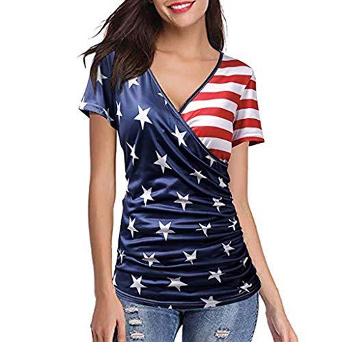 Bellelove Damen Bluse Damen Mode Sexy V-Ausschnitt Gestreiftes Hemd T-Shirt Kurzarm Bluse American Flag Prints Tops -