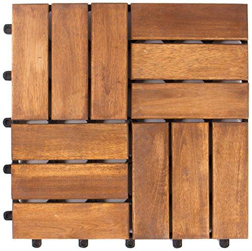 Vanage Holzfliesen 9-er Kachel Set, geeignet als Terrassenfliesen und Balkonfliesen, aus Akazien Holz, Design: Edge, braun, 30 x 30 x 2,4 cm