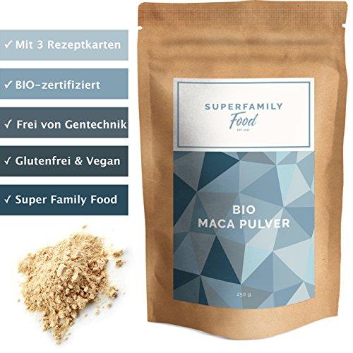 Bio Maca Pulver (250g, gelb, Peru) - mit 3 Rezeptkarten | für Männer & Frauen | Nahrungsergänzungsmittel & - Frauen Pulver