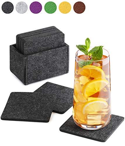 Sidorenko Filz Untersetzer eckig für Gläser - 10er Set Ink. Box - Design Glasuntersetzer in dunkelgrau für Getränke, Tassen, Bar, Glas - Premium Tischuntersetzer Filzuntersetzer